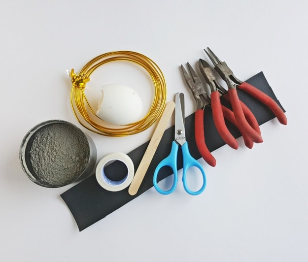 wire scissors pliers tape stick concrete supplies for craft