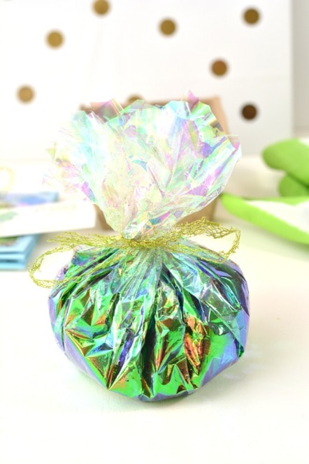 colorful cellophane bag filled with soil for mothers day garden gift