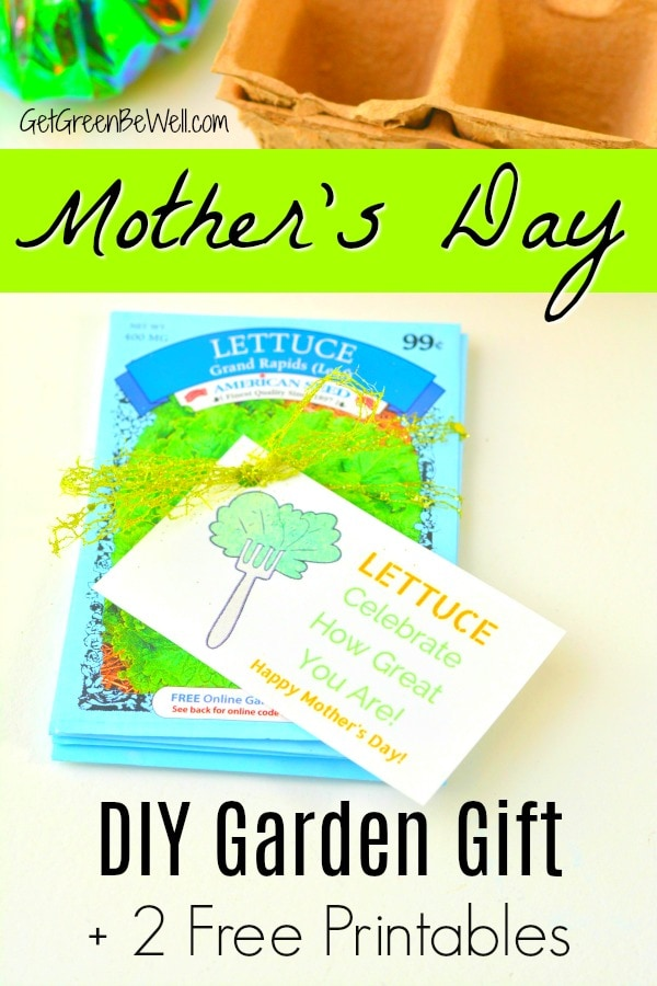 Lettuce packets tied together with mothers day garden gift tag lettuce celebrate how great you are