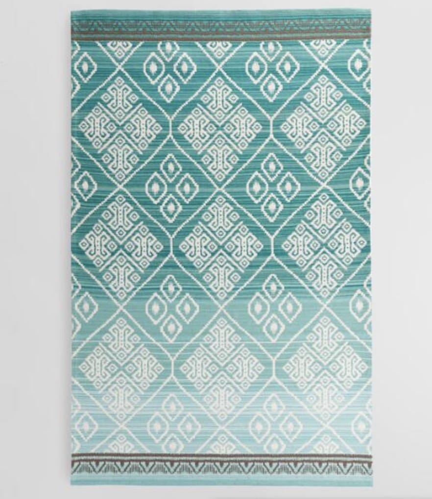 aqua diamond print outdoor rug