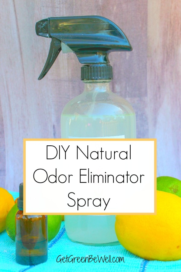 odor eliminator spray bottle with lemons and limes and essential oil