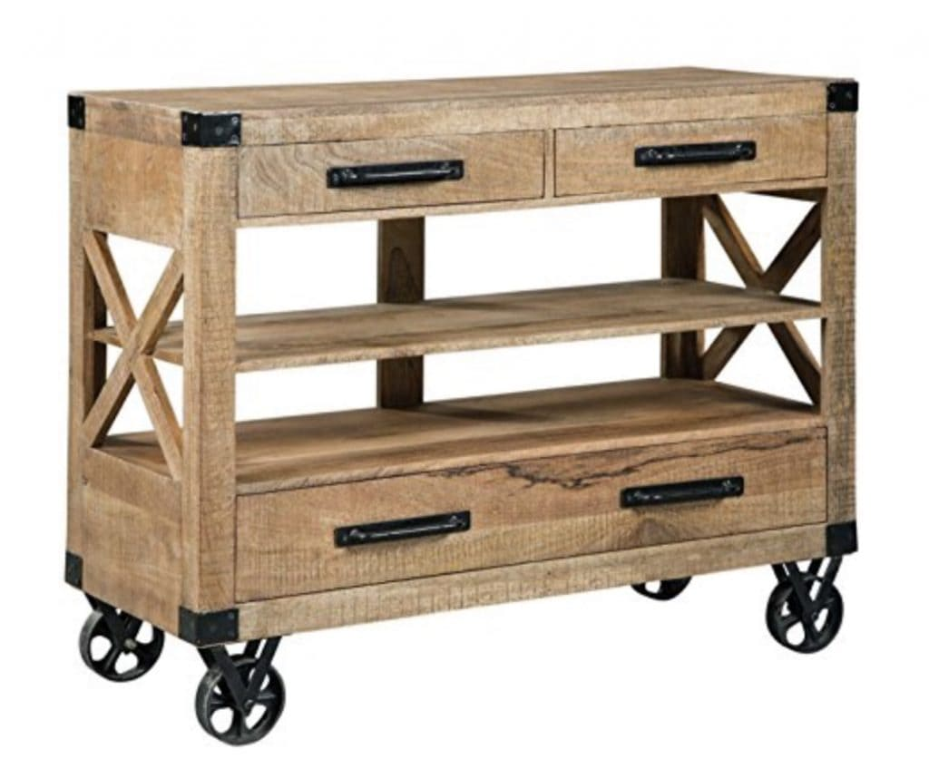 Wooden farmhouse rolling table with black wheels and three drawers