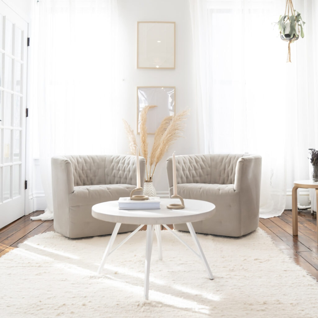 brown chairs on white rug with white end table in sunny room