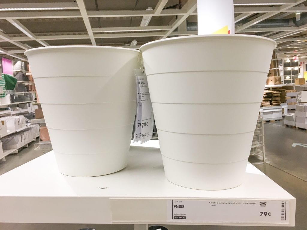 White FNISS trash cans at IKEA