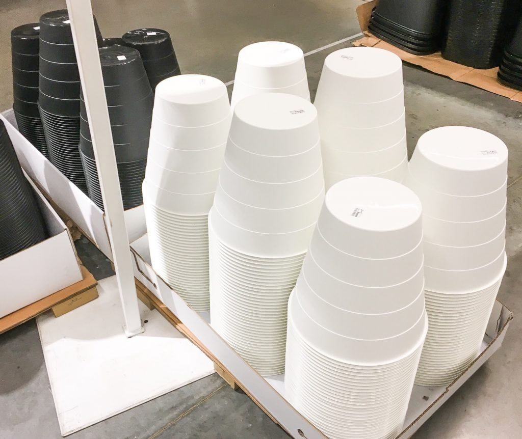 black and white plastic trash cans at IKEA