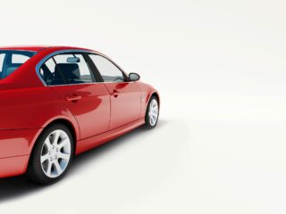 red car on white background