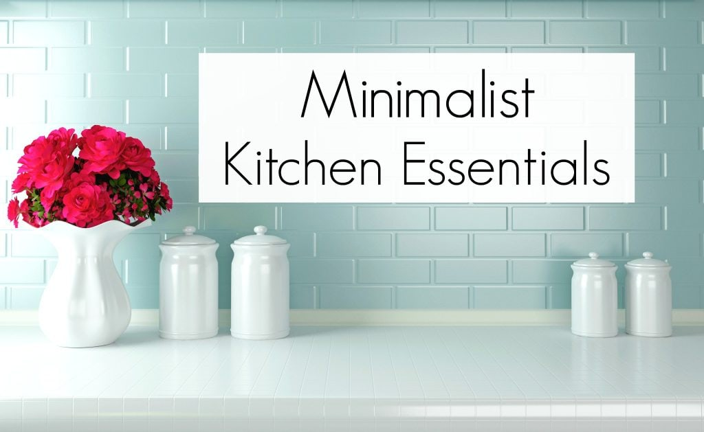 Minimalist Kitchen blue brick backsplash with white counter tops and white vase of pink flowers