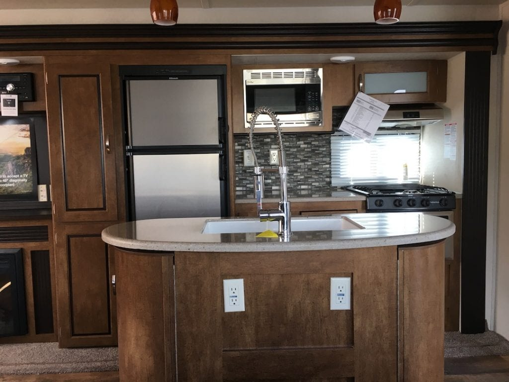 RV kitchen with island
