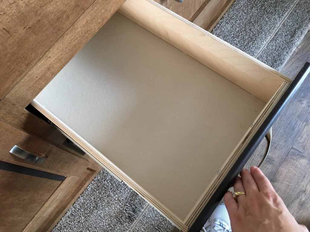open drawer in an RV kitchen