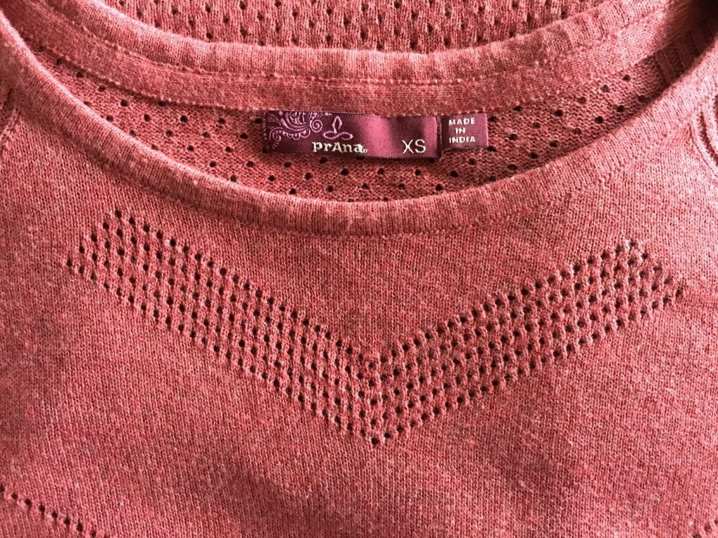 prana organic cotton sweater in wine color with tag