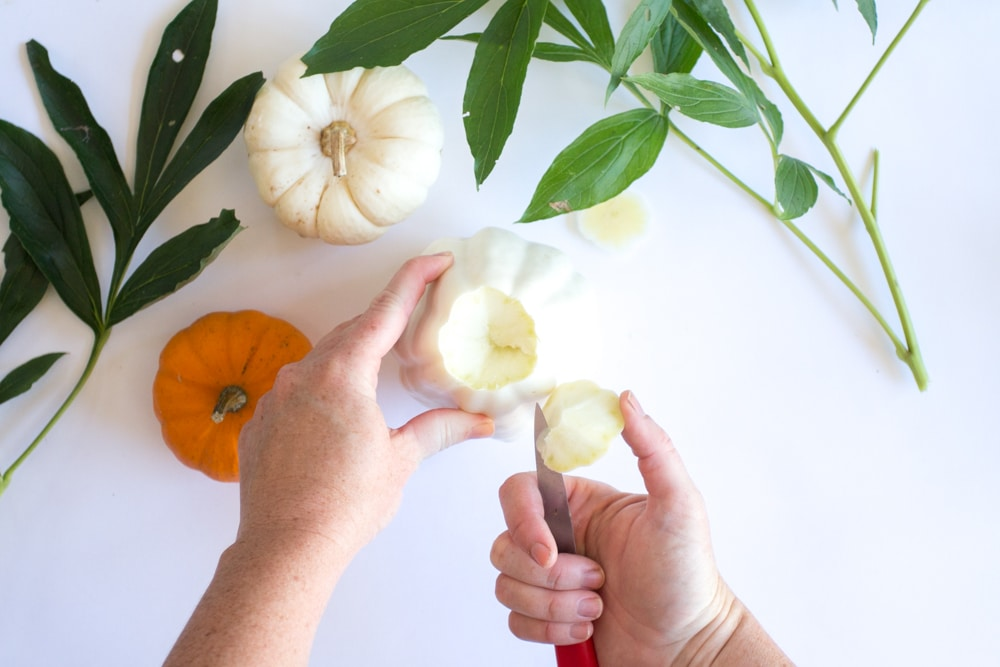 white pumpkin being scooped out on top to make a pumpkin flower vase