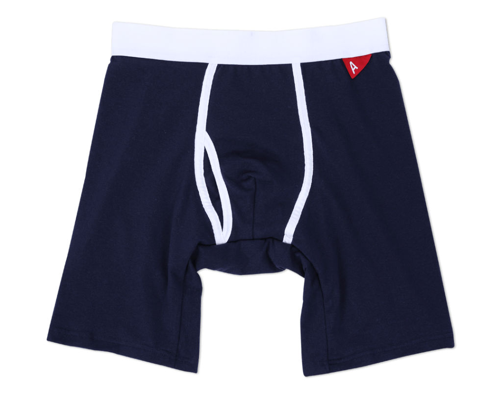 blue boxer brief underwear with white trim made from sustainable fibers