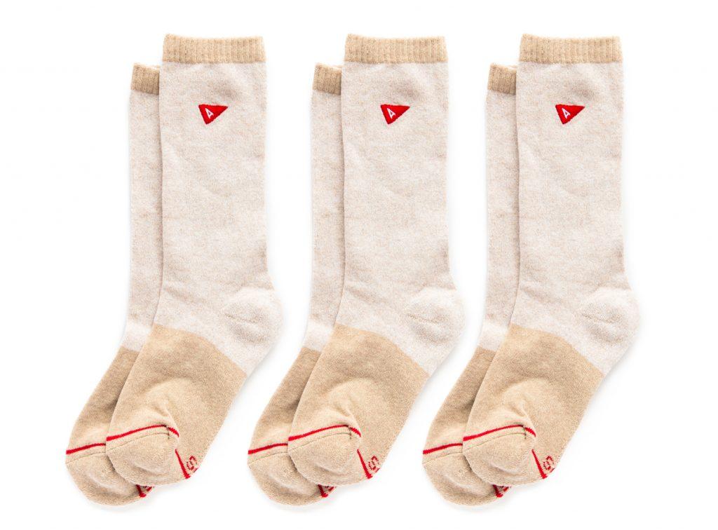 three pairs of white socks