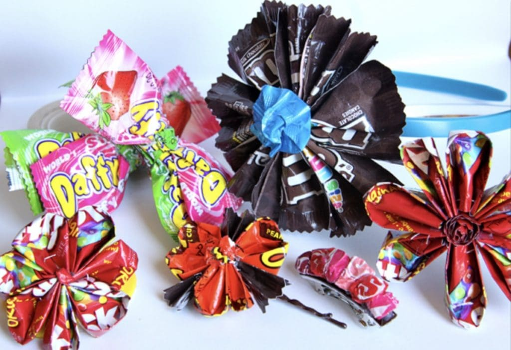 flowers and hair bows made from candy wrappers crafts