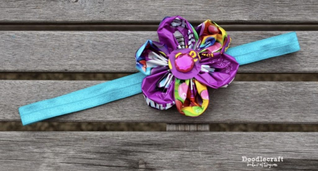 headband with flower made from folded candy wrappers