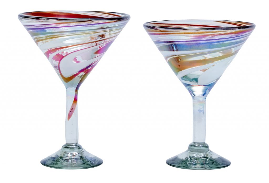 Martini glasses made of recycled glass with color swirl designs from GlobeIn