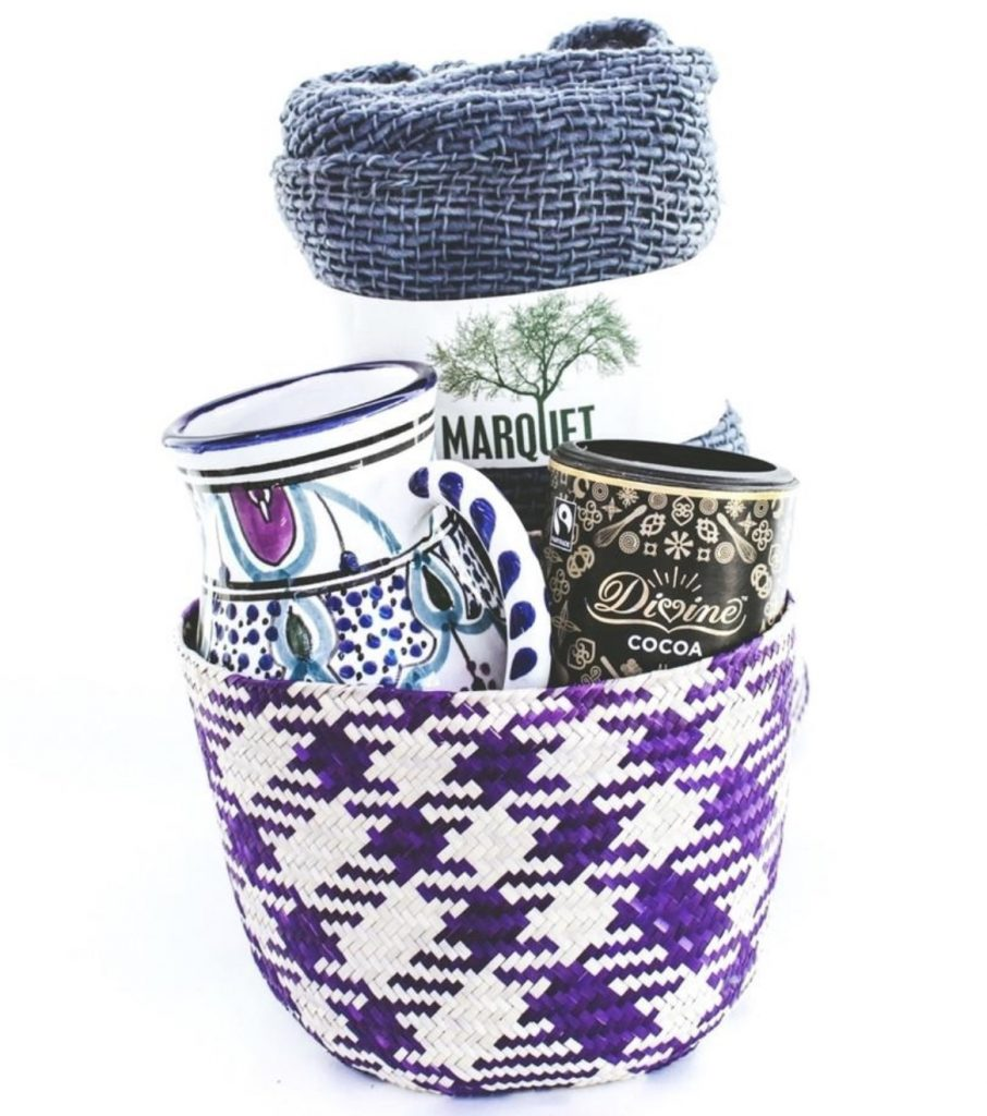 Purple woven basket with coffee mug and hot chocolate GlobeIn Subscription
