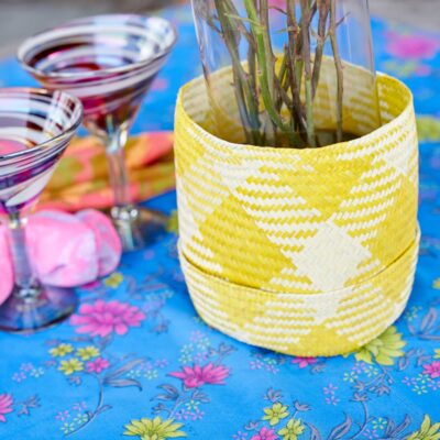 GlobeIn Monthly Subscription Box Celebrate November 2018 Yellow Palm Leaf Basket from Mexico handmade