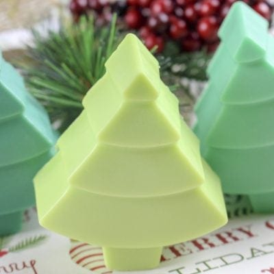 Homemade Natural Christmas Tree Soaps with Real Pine