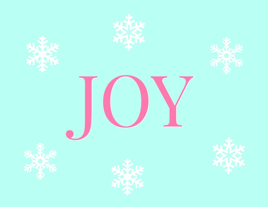 Joy Christmas Printable with white snowflakes