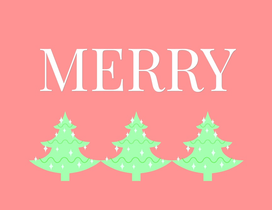 Merry Christmas Printable with Christmas trees