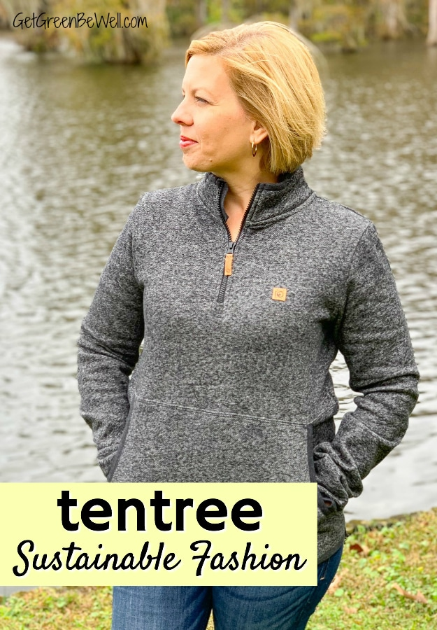woman wearing tentree hoodie sustainable fashion review