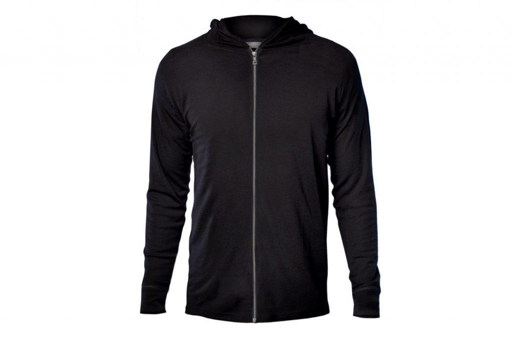 black wool hoodie against white background