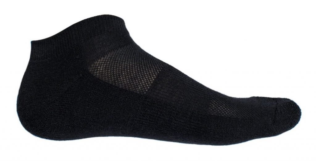 black wool sock against white background
