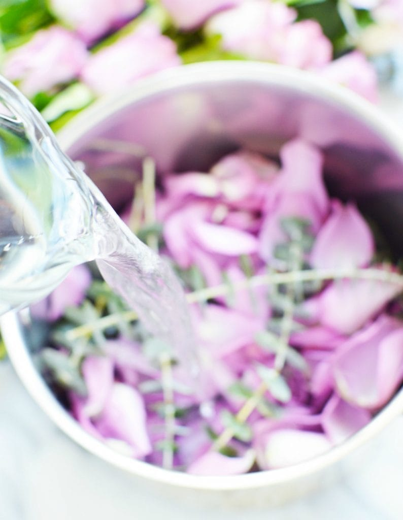 pouring water into a simmer pot lavender rose petals fresh eucalyptus stems air freshener