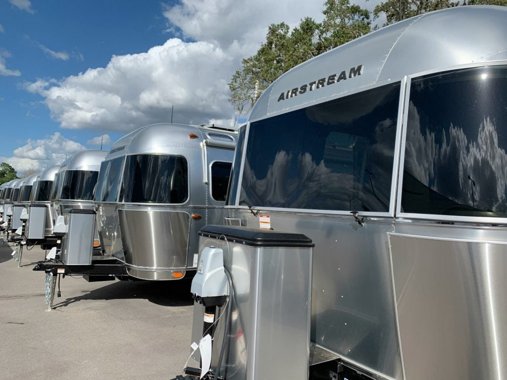 airstream rv trailers lined up in a row