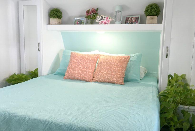 RV Mattress in bedroom with blue comforter