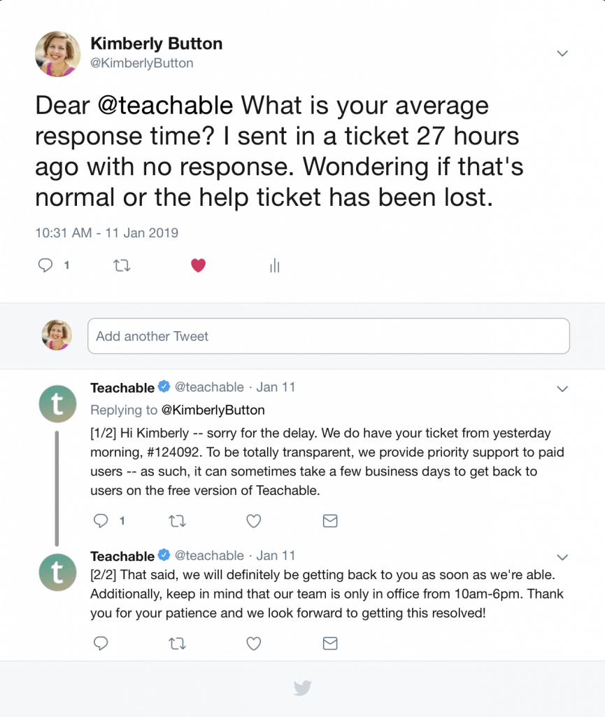 Twitter responses Teachable Customer Service