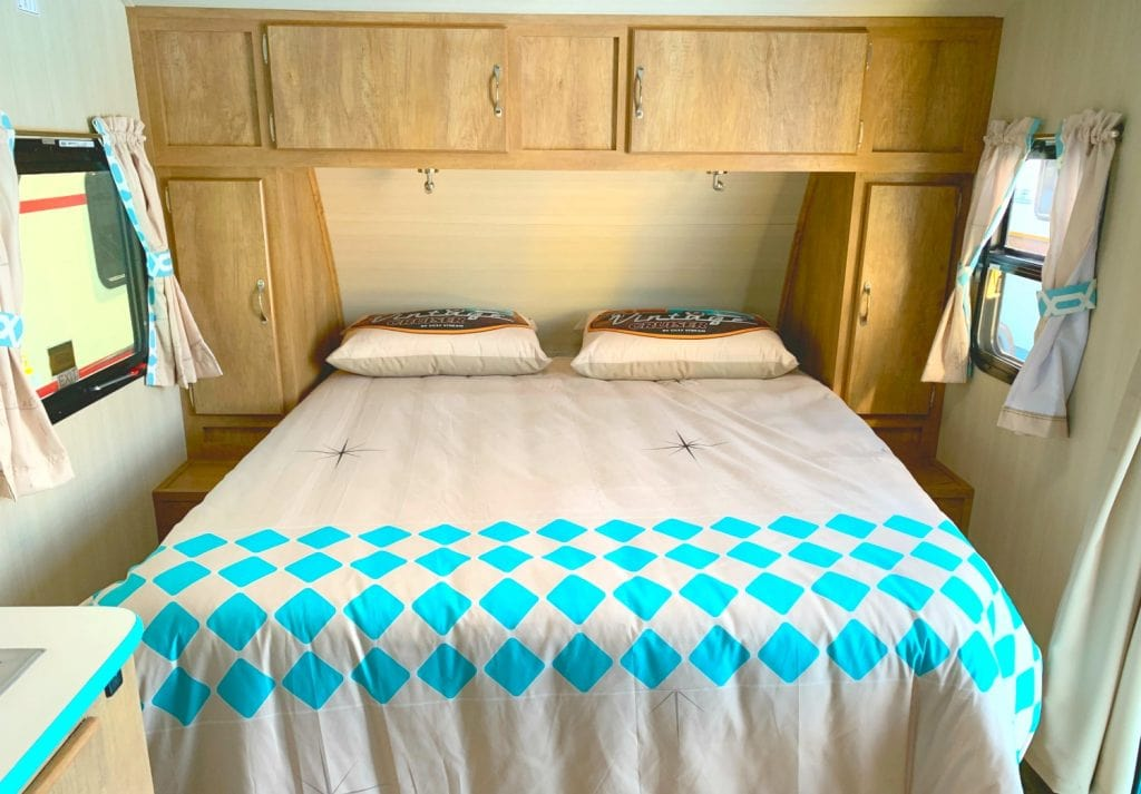 rv bed mattress with retro comforter