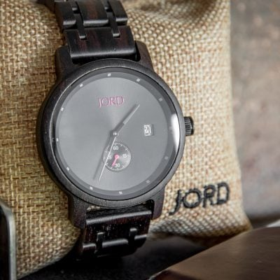 Jord Wood Watch Ebony Iron Displayed