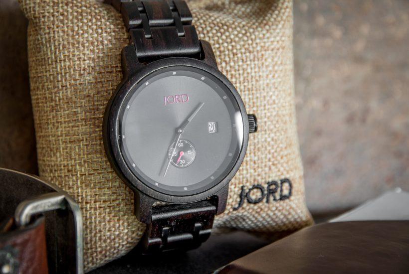 Jord Wood Watch Ebony Iron Displayed