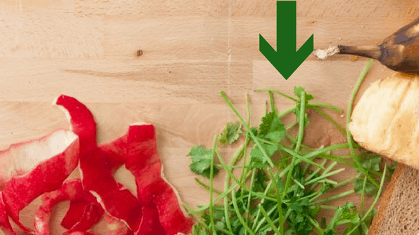 herb stems food waste on wooden board