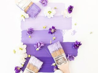 paint brushes applying purple paint to white background