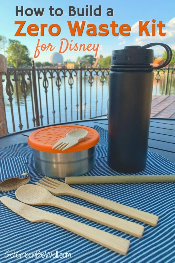 zero waste kit eating essentials bamboo utensils reusable water bottle
