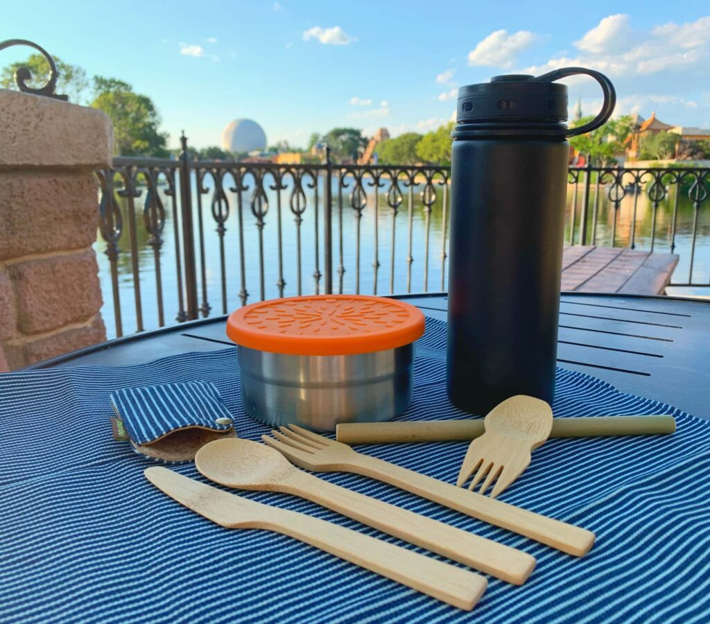 zero waste kit at disney epcot theme park Bamboo utensils reusable water bottle