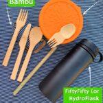 zero waste kit for disney bamboo utensils stainless steel bowl reusable water bottle