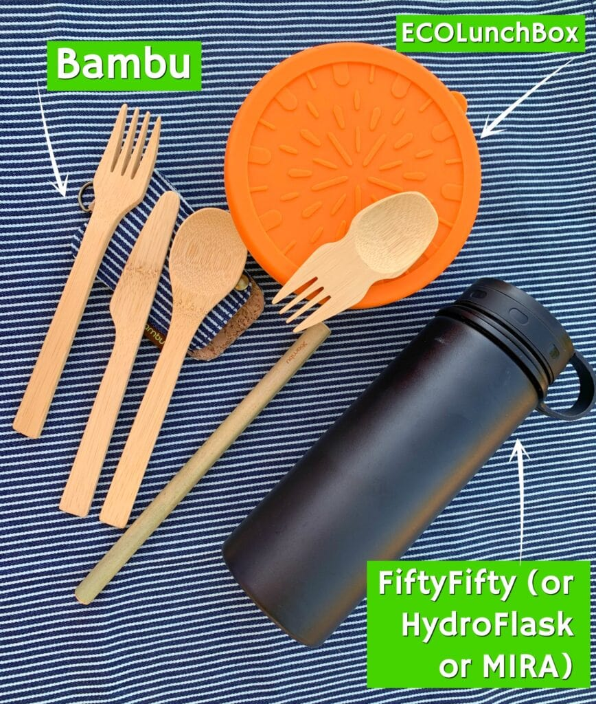 zero waste kit for disney bamboo utensils stainless steel bowl reusable water bottle