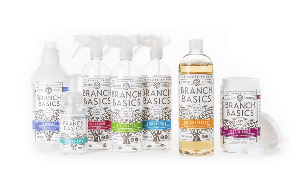 Branch Basics cleaning bottles against white background