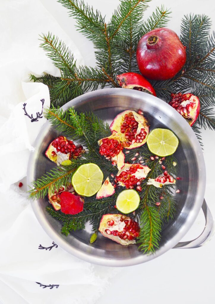 Christmas stovetop potpourri in stainless steel pot against pine needles and white background