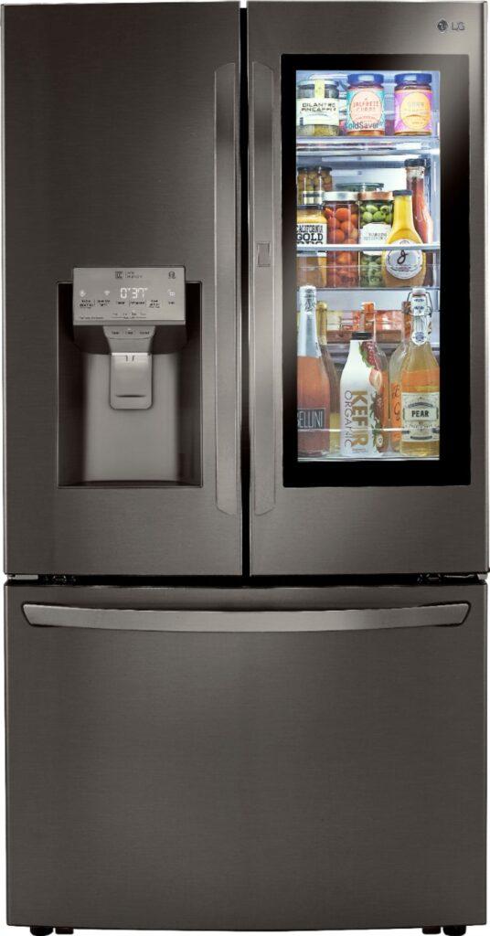 LG InstaView Door-in-Door Refrigerator with glass door illuminated
