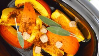 pumpkin pie slices sage and sugar in crock pot for potpourri