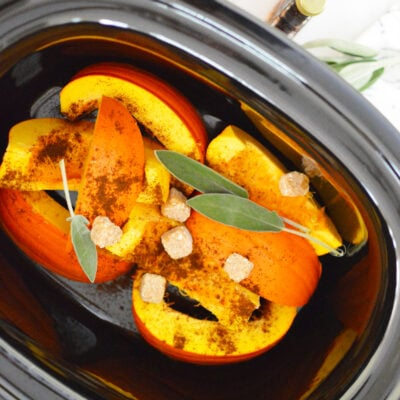 pumpkin pie slices sage and sugar in crock pot for potpourri