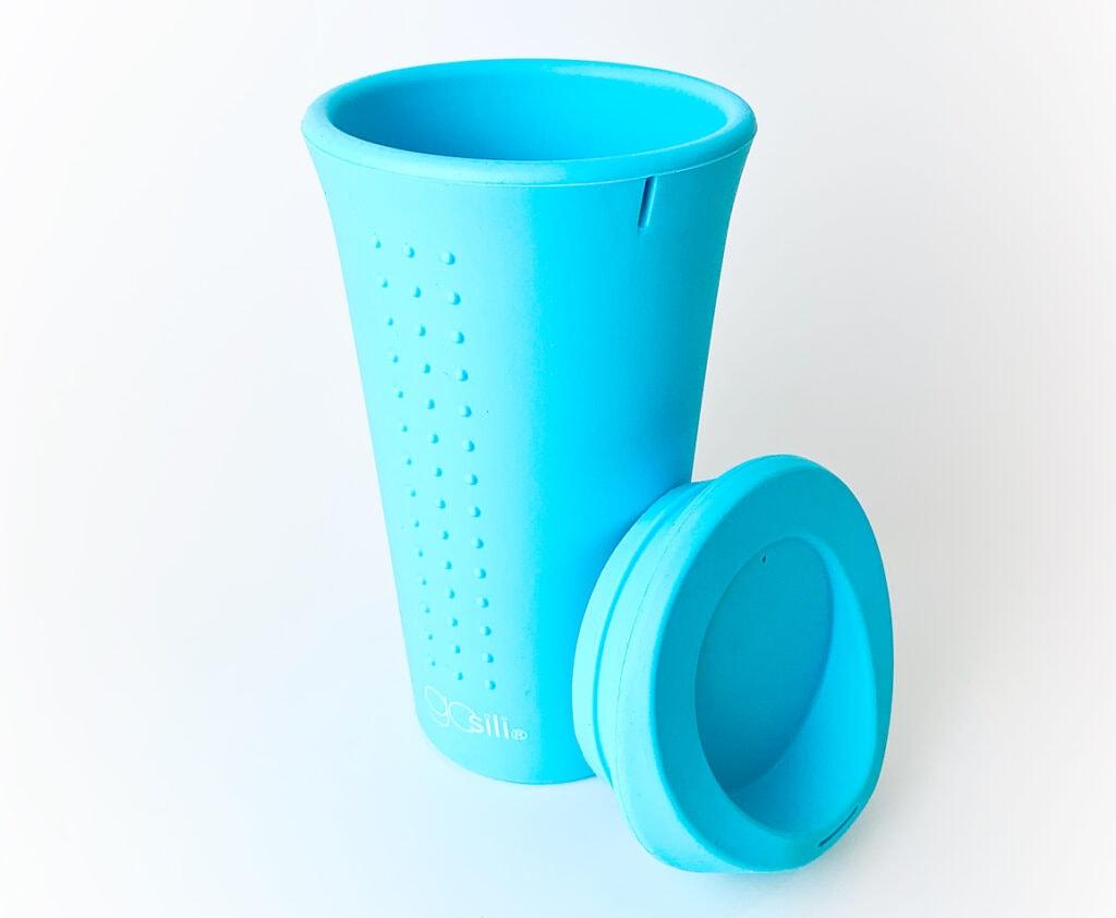 blue silicone reusable coffee mug