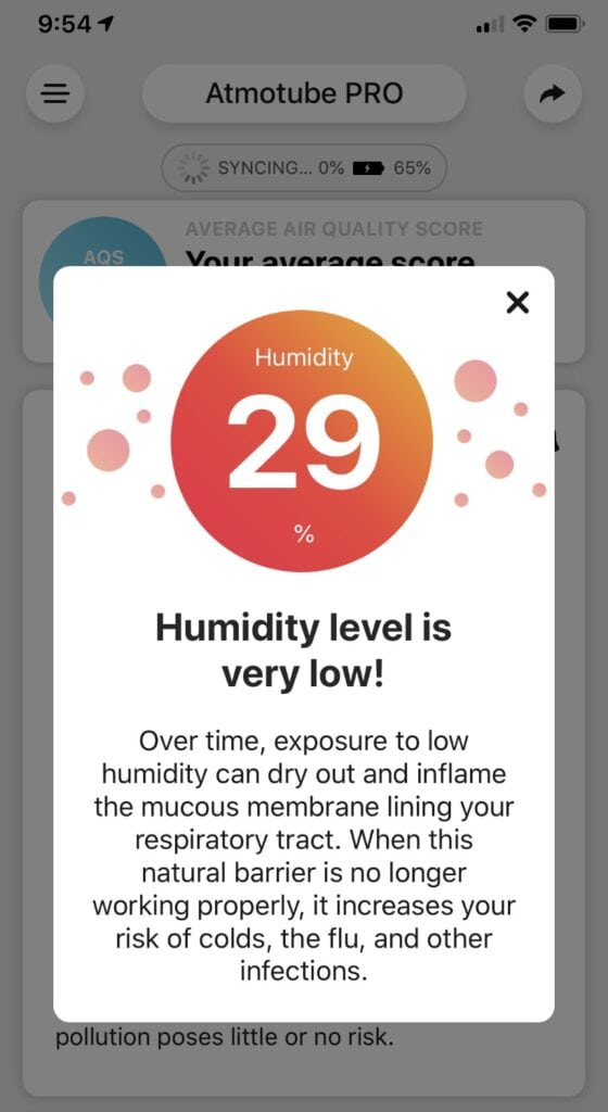 atmotube air quality report humidity