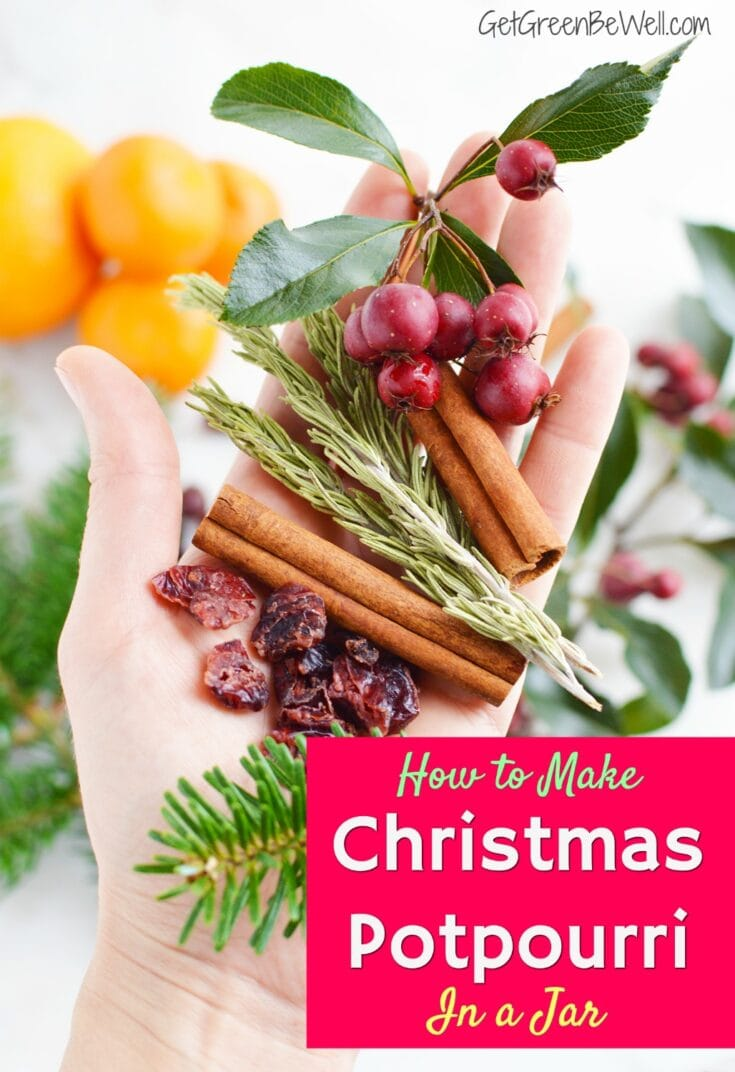 Give the gift of a great smelling home with these natural Christmas potpourri in a jar presents. Ideal for hostess gifts, neighbor gifts, coworker gifts or a thoughtful gift to have on hand. #potpourri #airfreshener #DIYgifts #homemadegifts