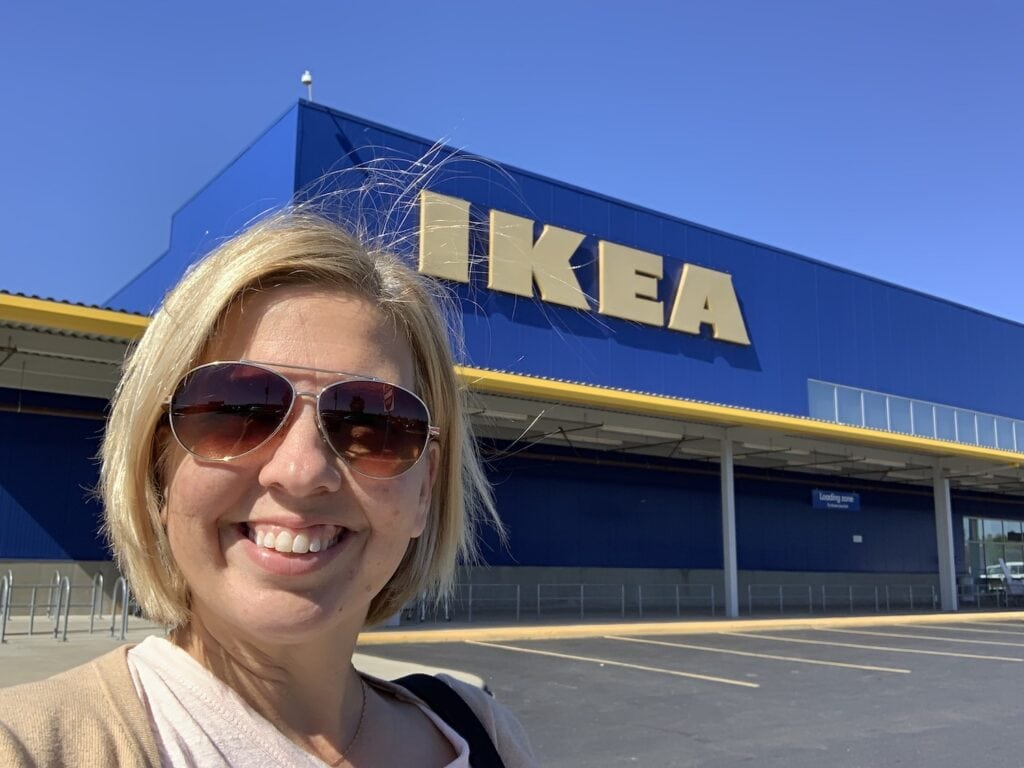 kim in front of IKEA store
